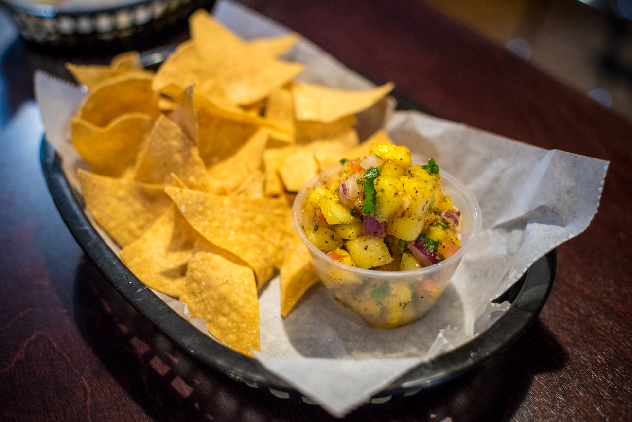 Chips with spicy-sweet pineapple salsa / Image: Phil Armstrong, Cincinnati Refined // Published: 12.12.16