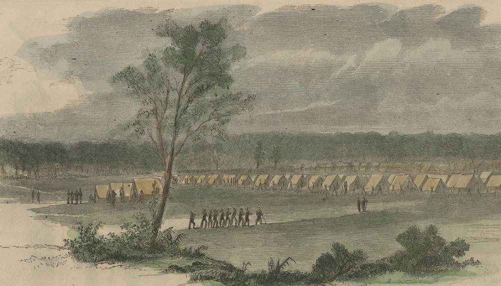 Historical illustration of Camp Dennison from its days as a Civil War outpost. / Image courtesy of the Collection of The Public Library of Cincinnati and Hamilton County // Published: 6.21.18