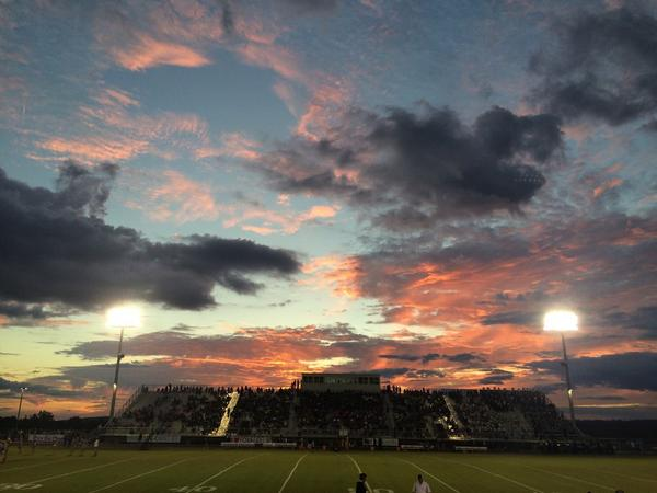 Sunset before Chelsea vs. Helena, Friday, Sept. 26, 2014.