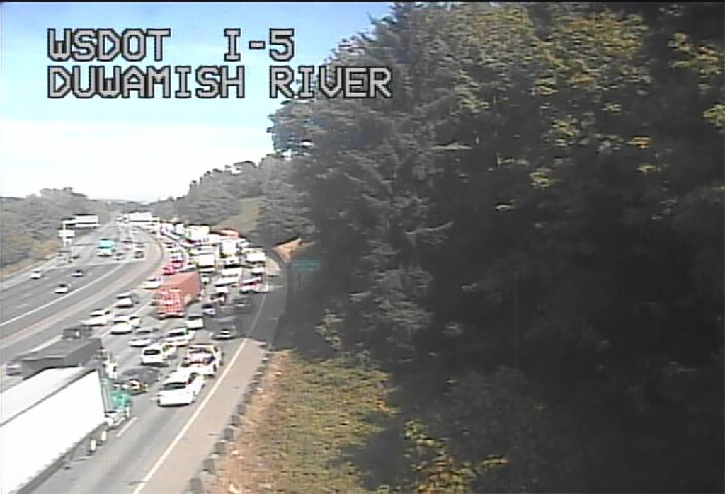 WSDOT traffic cam shows the backup from the crash.