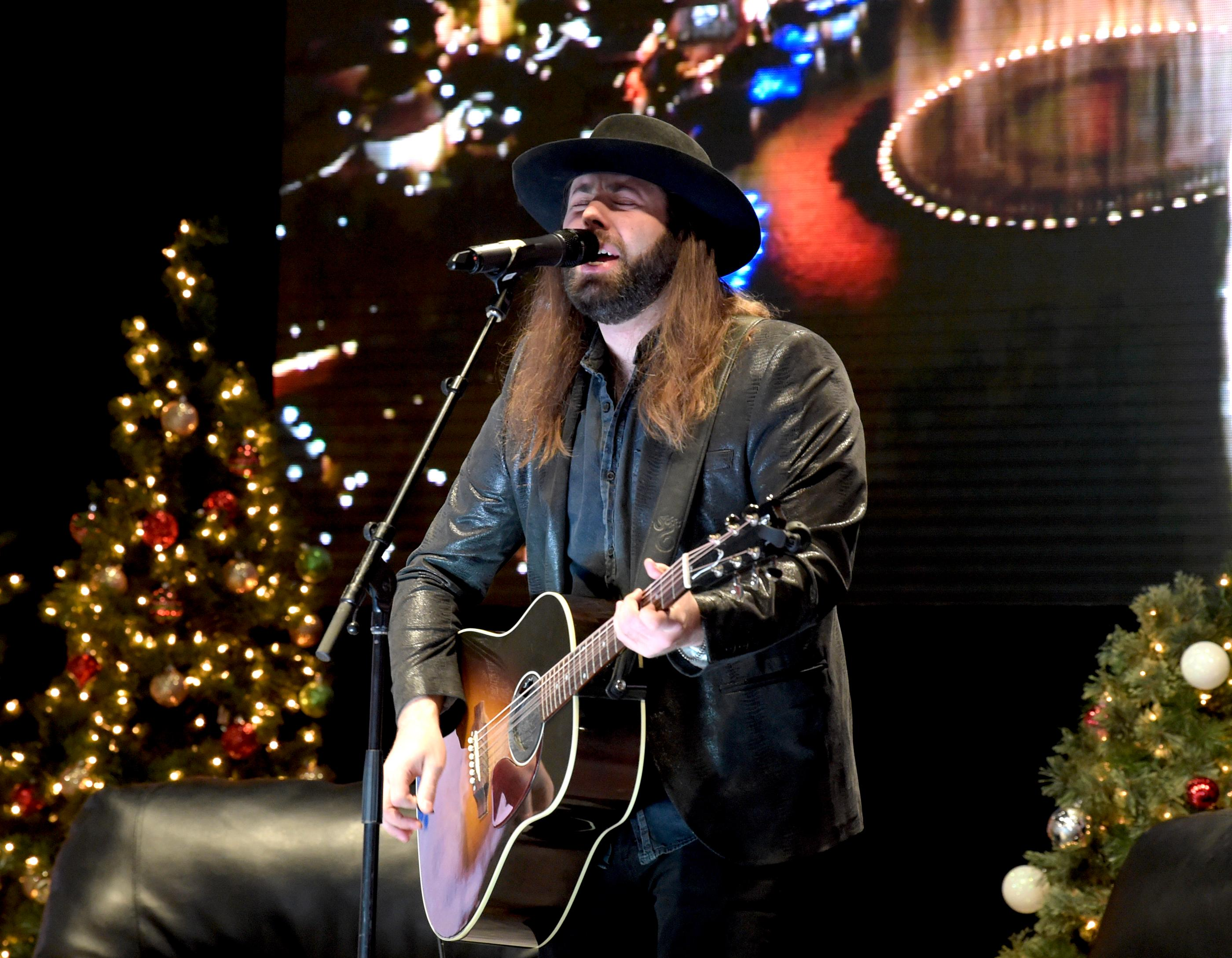 "Country singer/songwriter CJ Solar singing on ""Outside the Barrel"" Show with Flint Rasmussen on the Rodeo Live Stage during Cowboy Christmas at the Las Vegas Convention Center . Sunday December 10, 2017. [Glenn Pinkerton/Las Vegas News Bureau]"