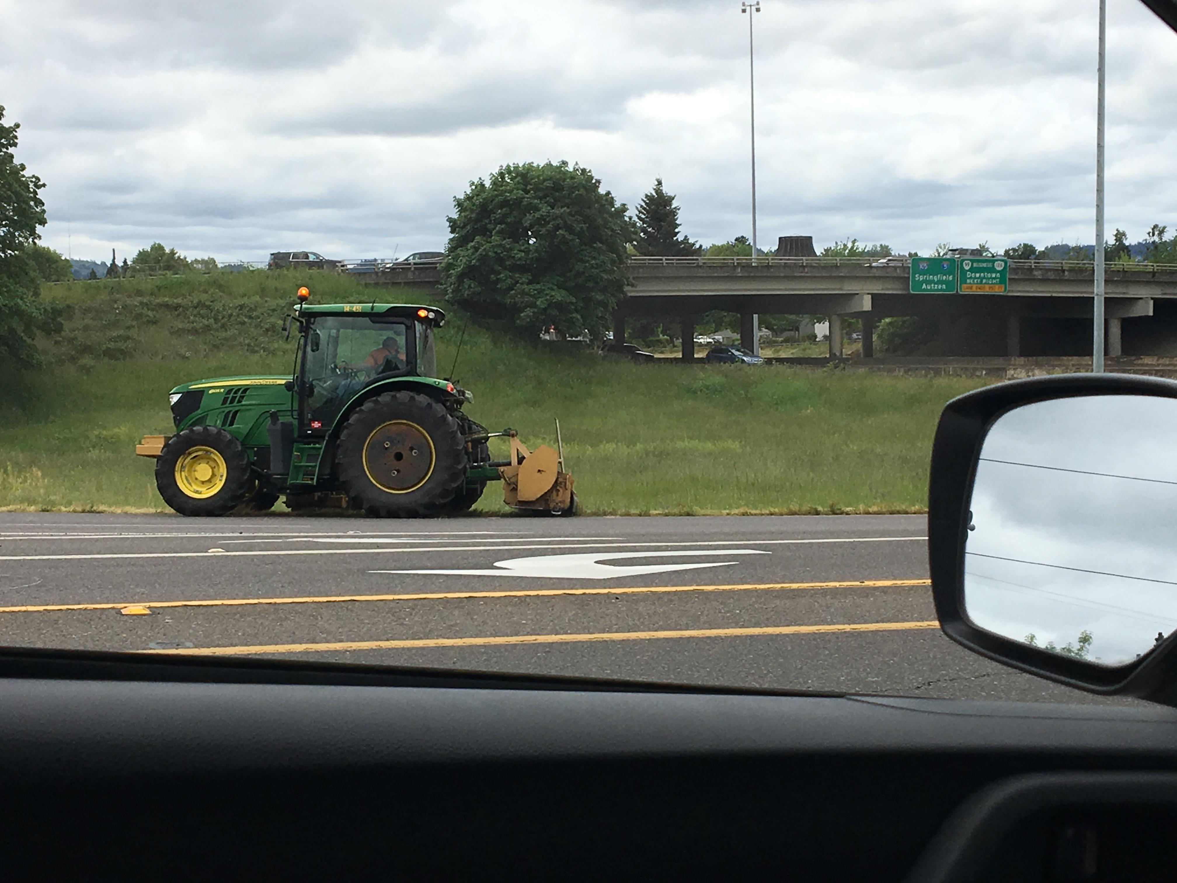 It's mowing season for Lane County crews who are out and about clearing rights of way and ditches. (SBG).