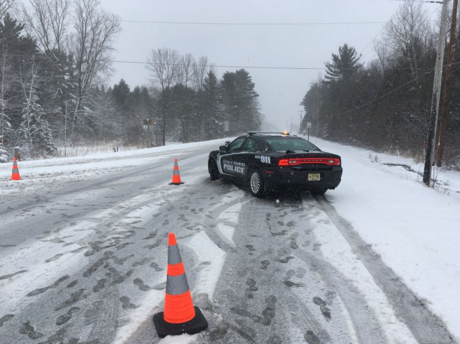 The scene of a crash on County Highway B in Suamico, April 3, 2018. (Photo courtesy of Suamico Police)