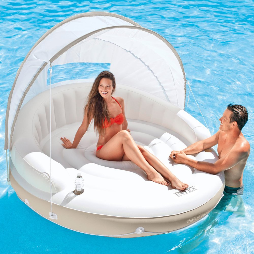 Canopy Island Inflatable Lounge: Keep the sun off with this super luxe floating canopy. Whether you're on land or floating in the middle of the pool, this canopy is just the ticket if you're trying to get some sun... but maybe not TOO much sun. (Photo: Courtesy Amazon)
