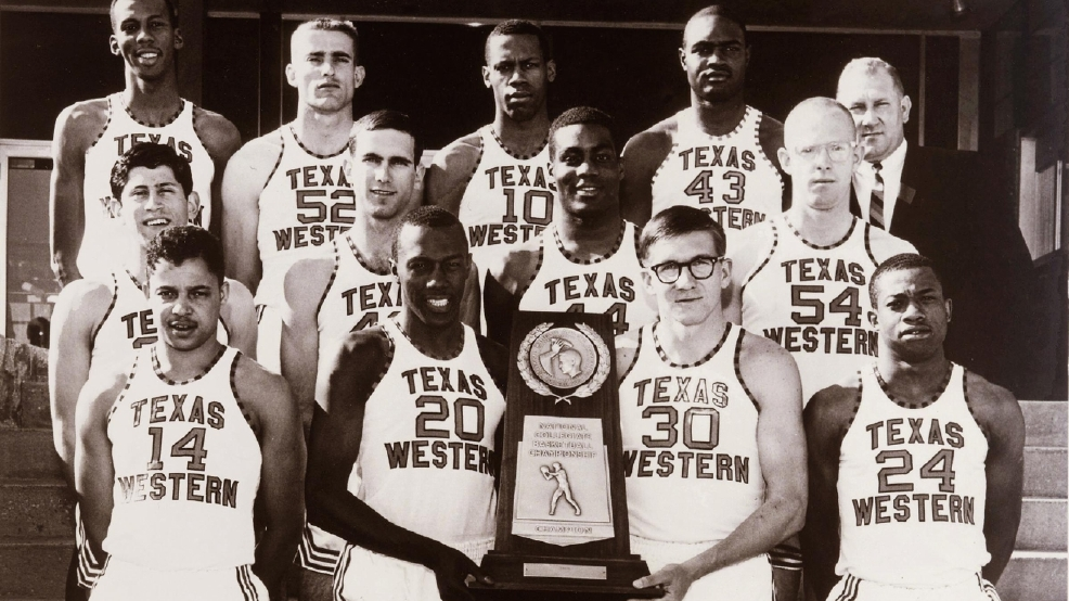 Texas Western players with their NCAA championship trophy in 1966. (Photo courtesy UTEP Athletics)