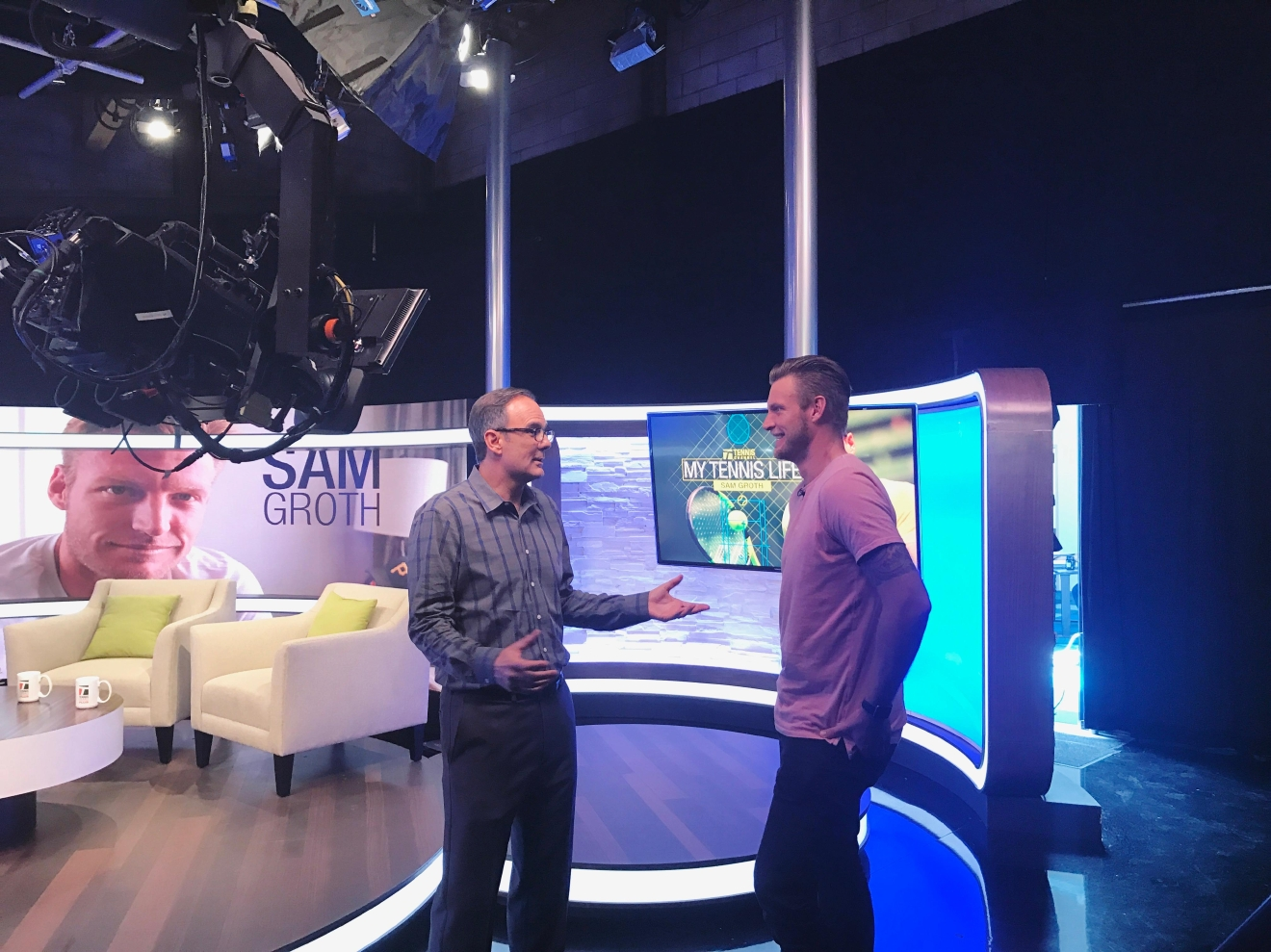Sam Groth on set with Paul Annacone before Tennis Channel Live