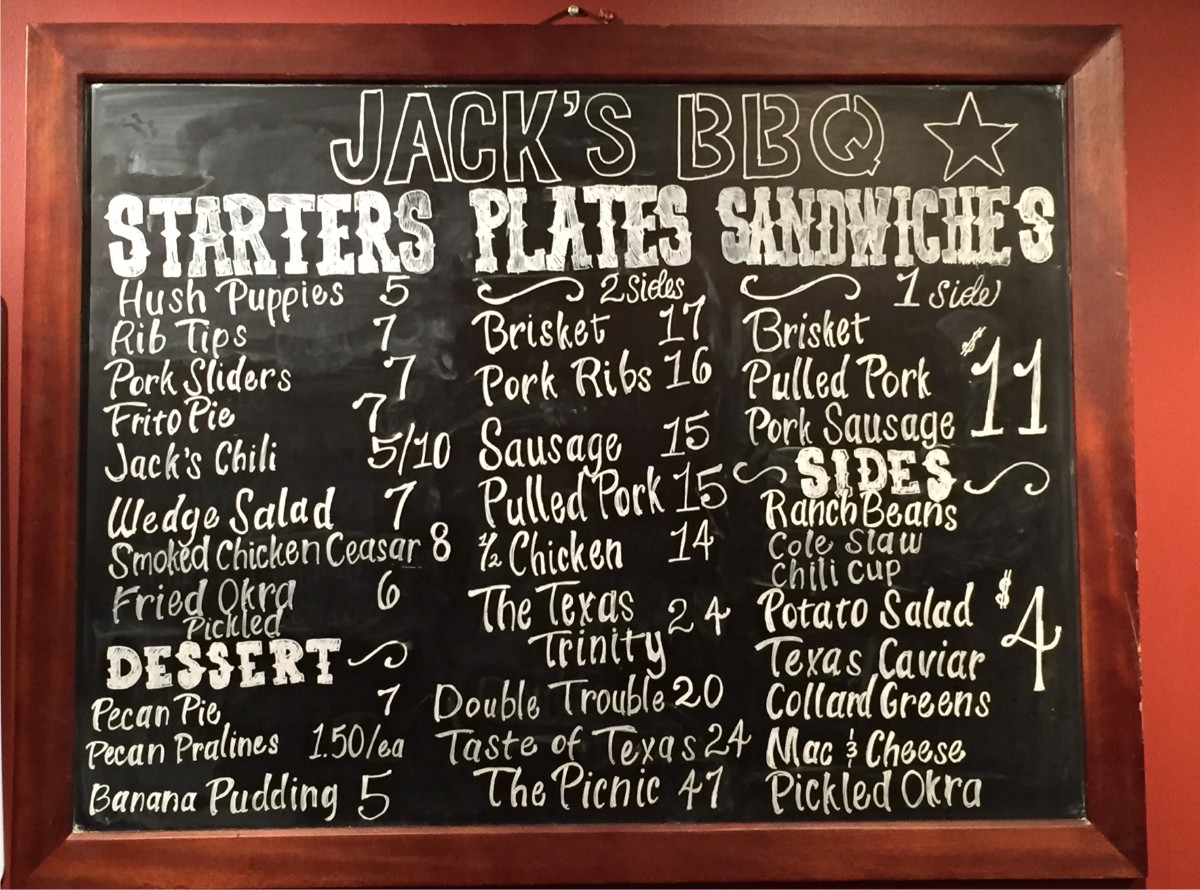 The menu on the wall at Jack's BBQ. (Image: Frank Guanco)