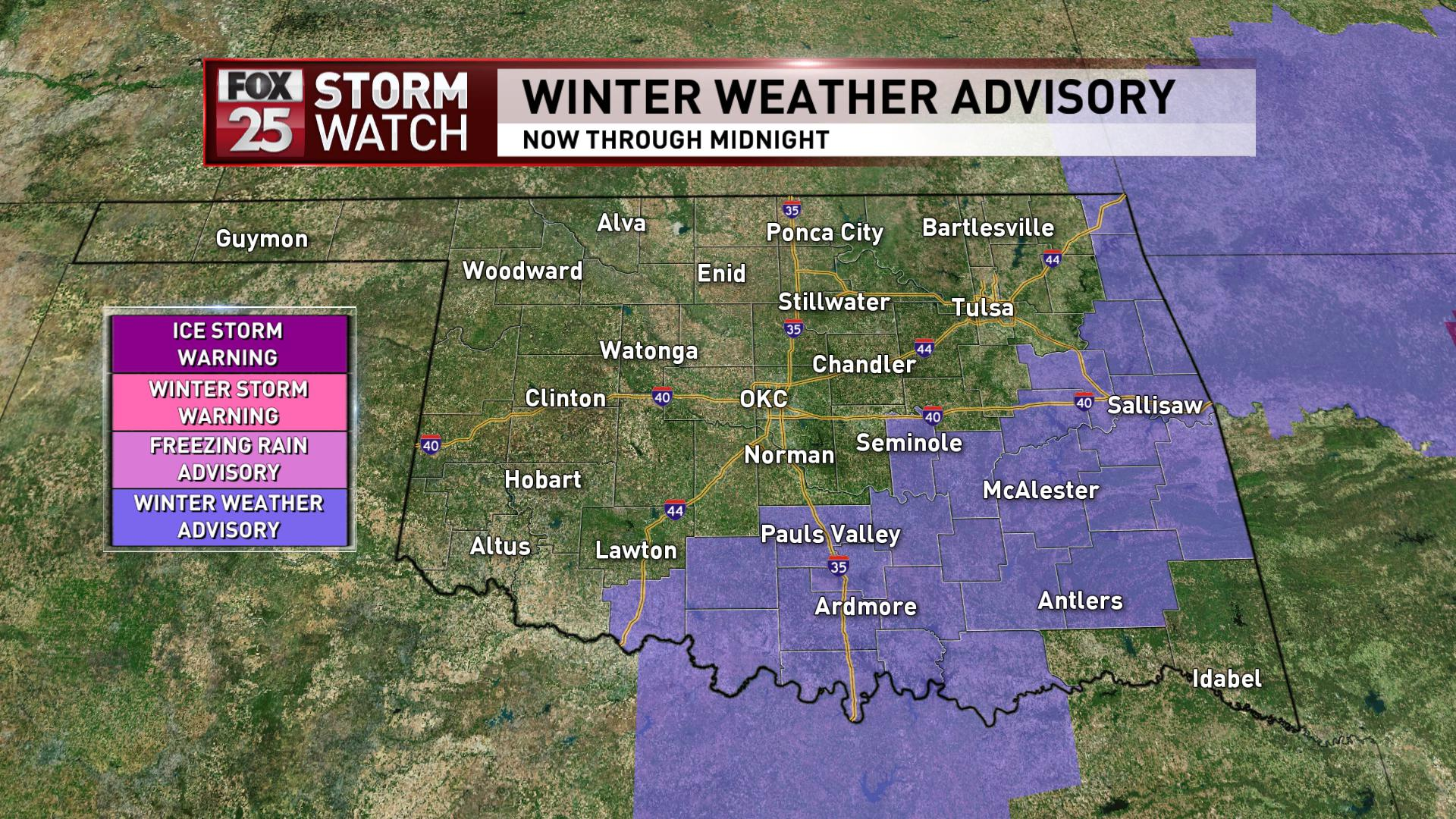 Winter weather advisory for Feb. 6, 2018. (KOKH)