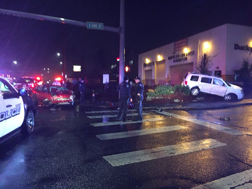 A driver was arrested after he crashed into another car while attempting to get away from police in Kent Wednesday night.  (Photo: Kent Police)