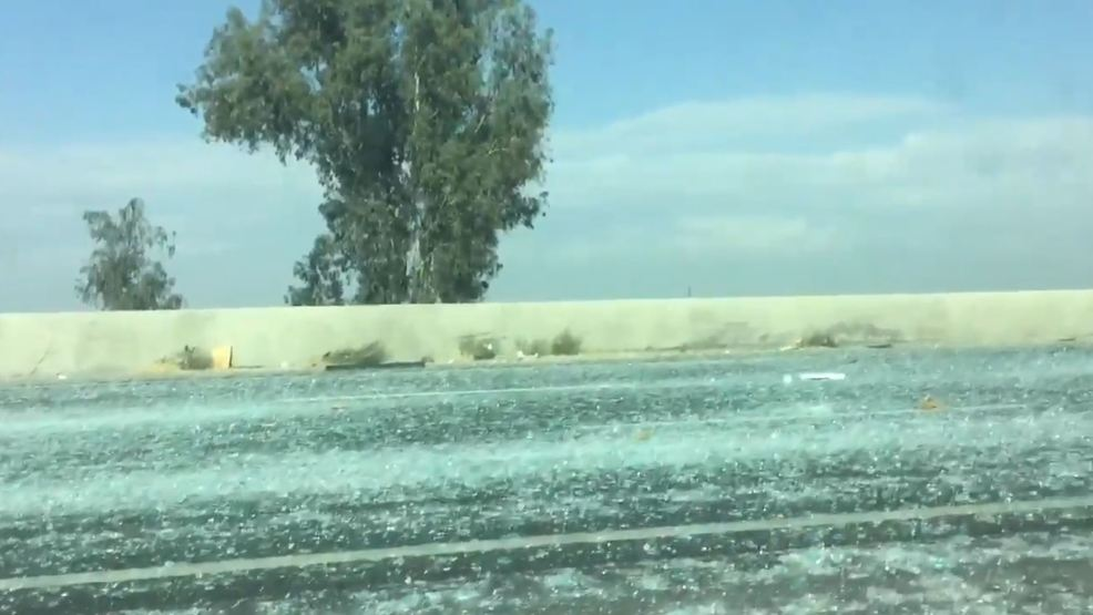 Glass Covers Highway 99 Near Kingsburg After Semi Truck Drops Load