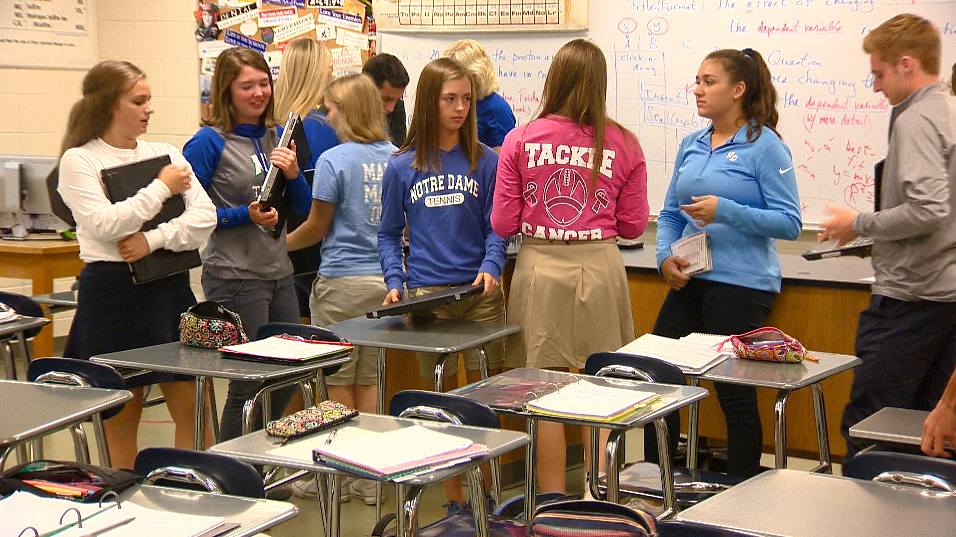 Caragan Olles in a Notre Dame Academy science class (WLUK)<p></p>
