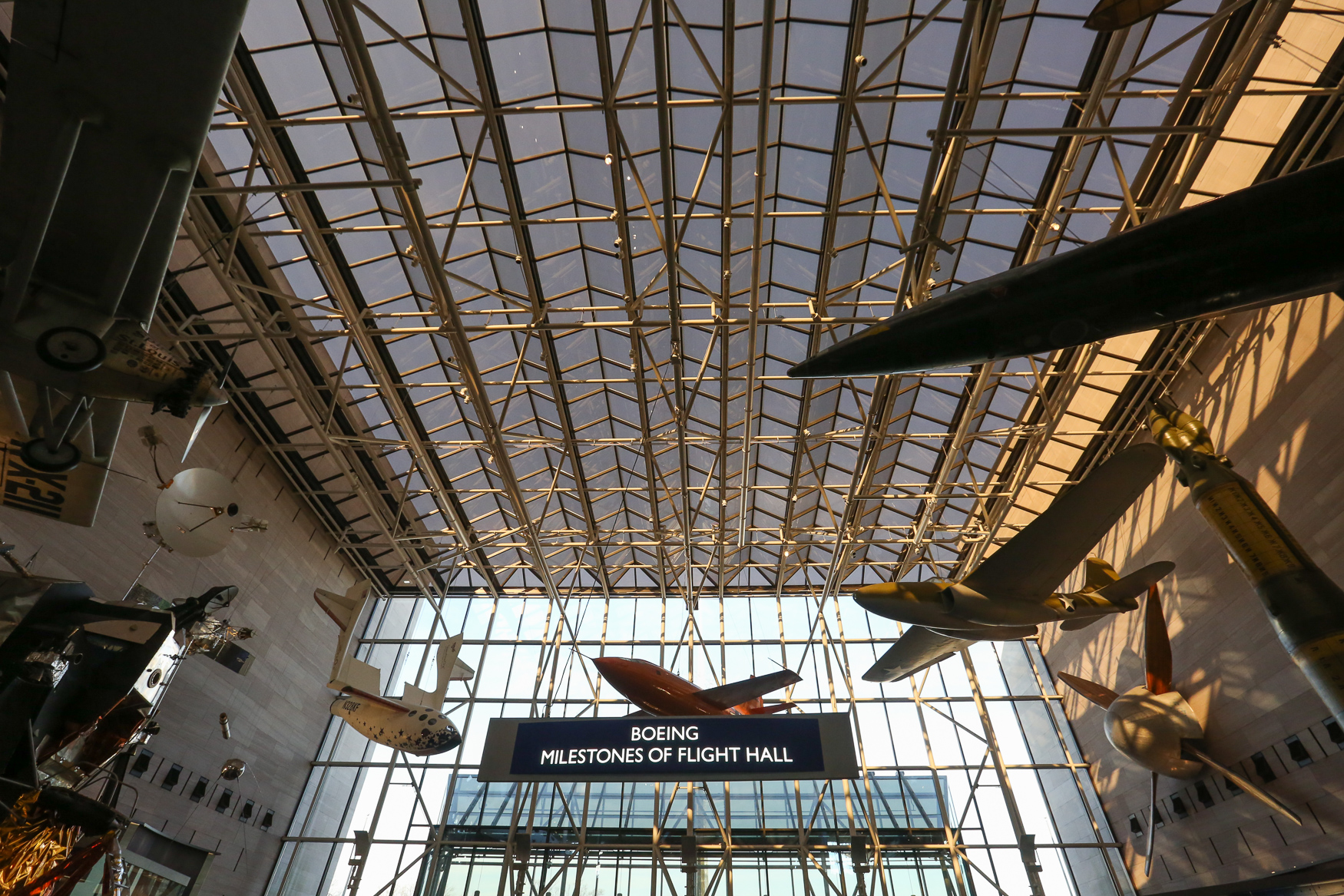 The National Air and Space Museum was completed in 1976. The main hall is primarily constructed out of steel and glass.{ }{ }(Amanda Andrade-Rhoades/DC Refined){ }