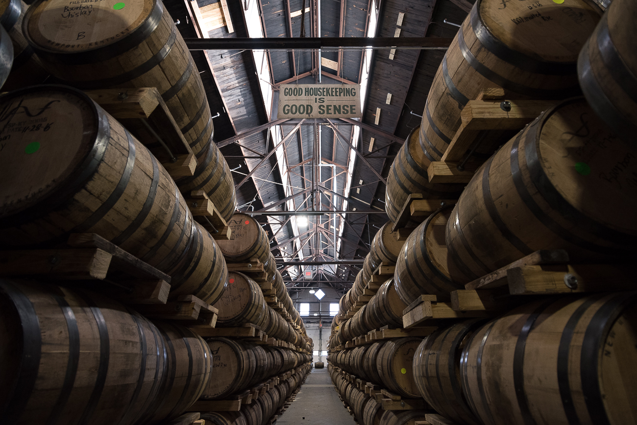 The barrelhouse has 3600 barrels of product stored within it. It uses the &quot;stow&quot; method of stacking, which is a Scottish style of stacking the barrels onto themselves to conserve space. / Image: Phil Armstrong, Cincinnati Refined // Published: 12.4.17<p></p>