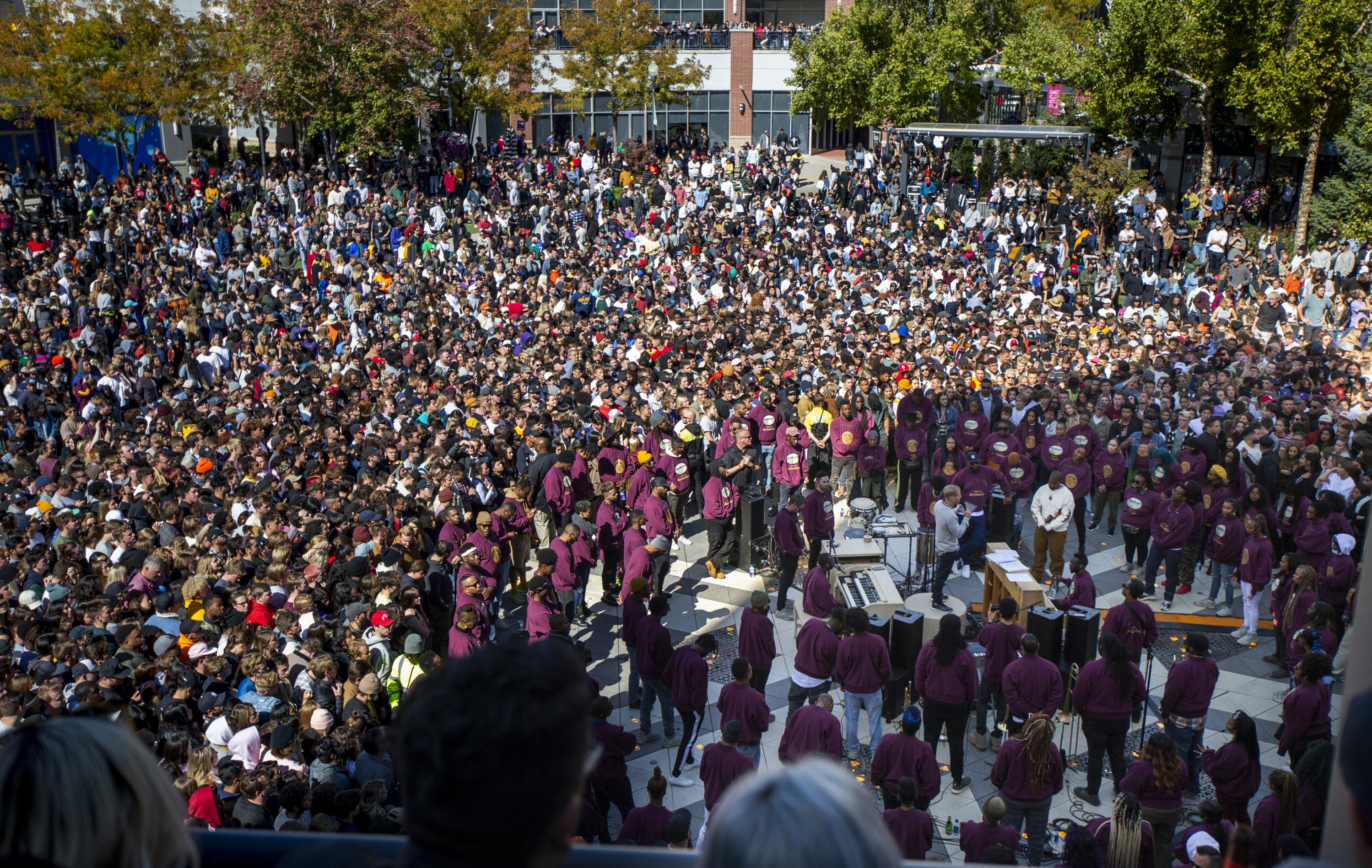 "Thousands pack into The Gateway in Salt Lake City for Kanye West's ""Sunday Service,"" Saturday, Oct. 5, 2019.{ } (Colter Peterson/The Deseret News via AP)"