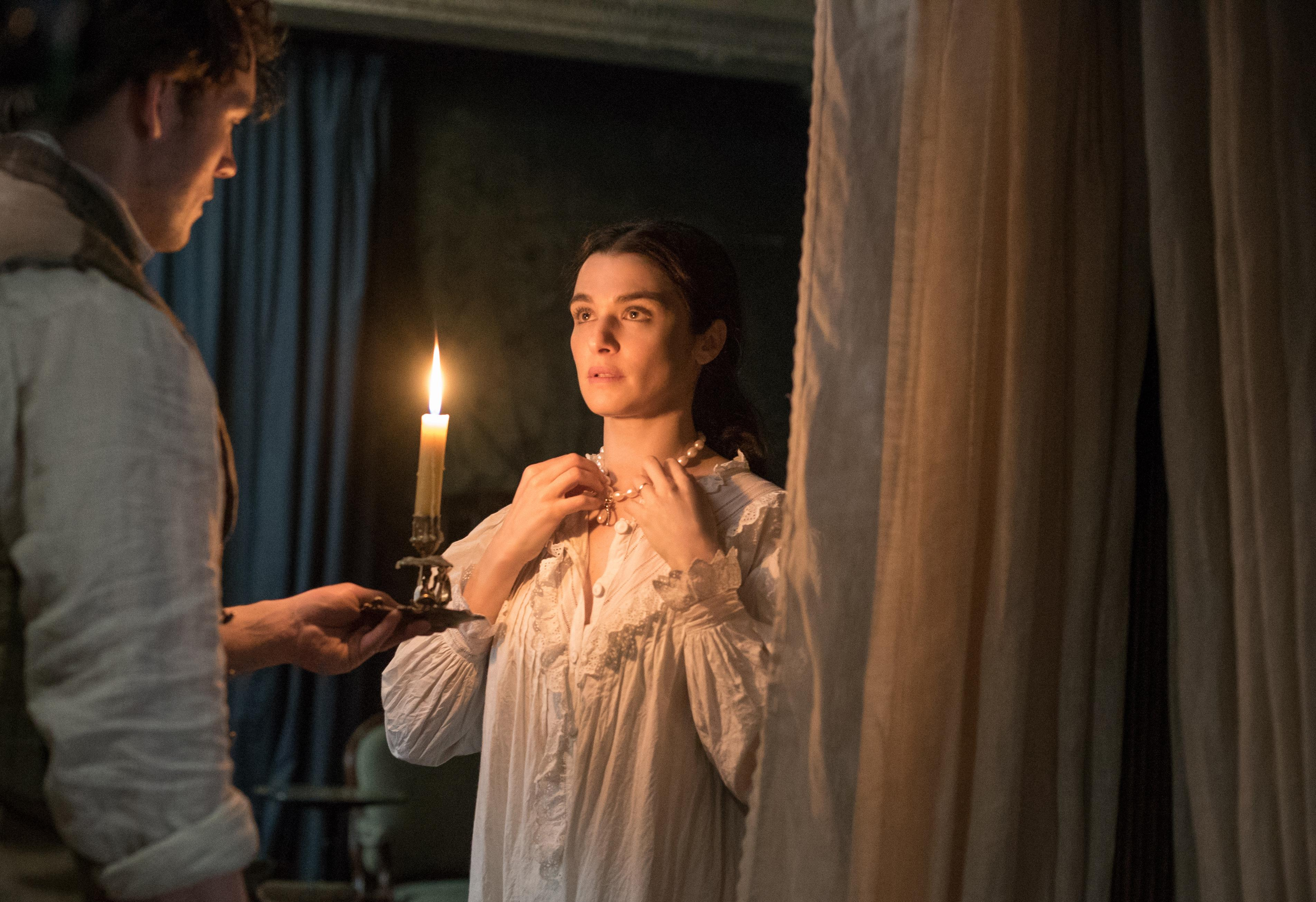 "Sam Claflin as ""Philip"" and Rachel Weisz as ""Rachel Ashley"" in MY COUSIN RACHEL. Photo by Nicola Dove. © 2016 Twentieth Century Fox Film Corporation All Rights Reserved"
