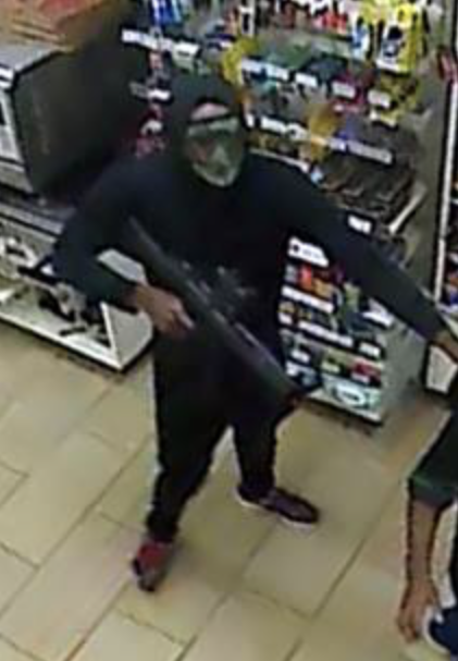 Masked thief robs convenience store on Aug. 4 in Lanham, Md.  Wednesday, Aug. 9, 2017 (Prince George's County Police)