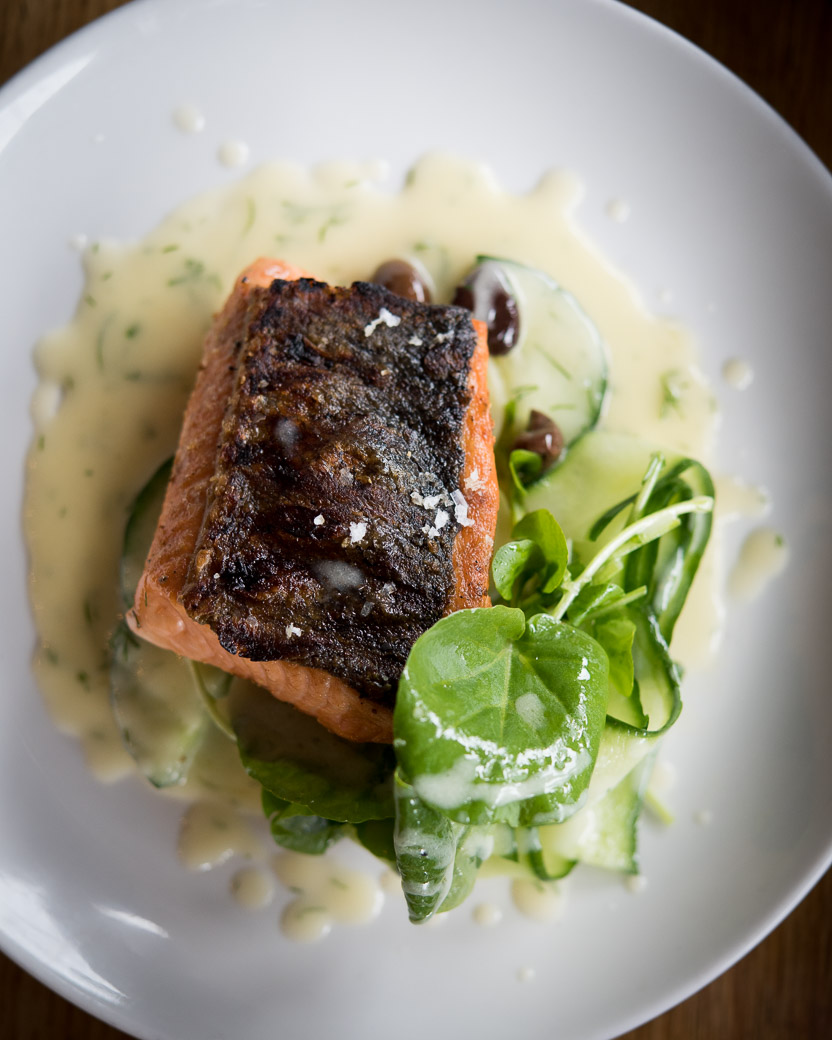 Mkt.'s Copper River sockeye salmon with Persian cucumber, taggiasca olives, and a whey beurre blanc. (Image: Geoffrey Smith)
