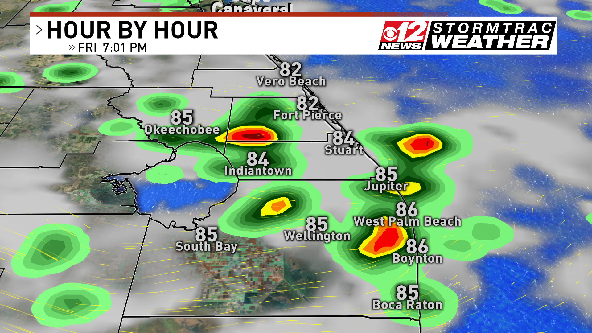 Friday late afternoon scattered heavy storms (WPEC)