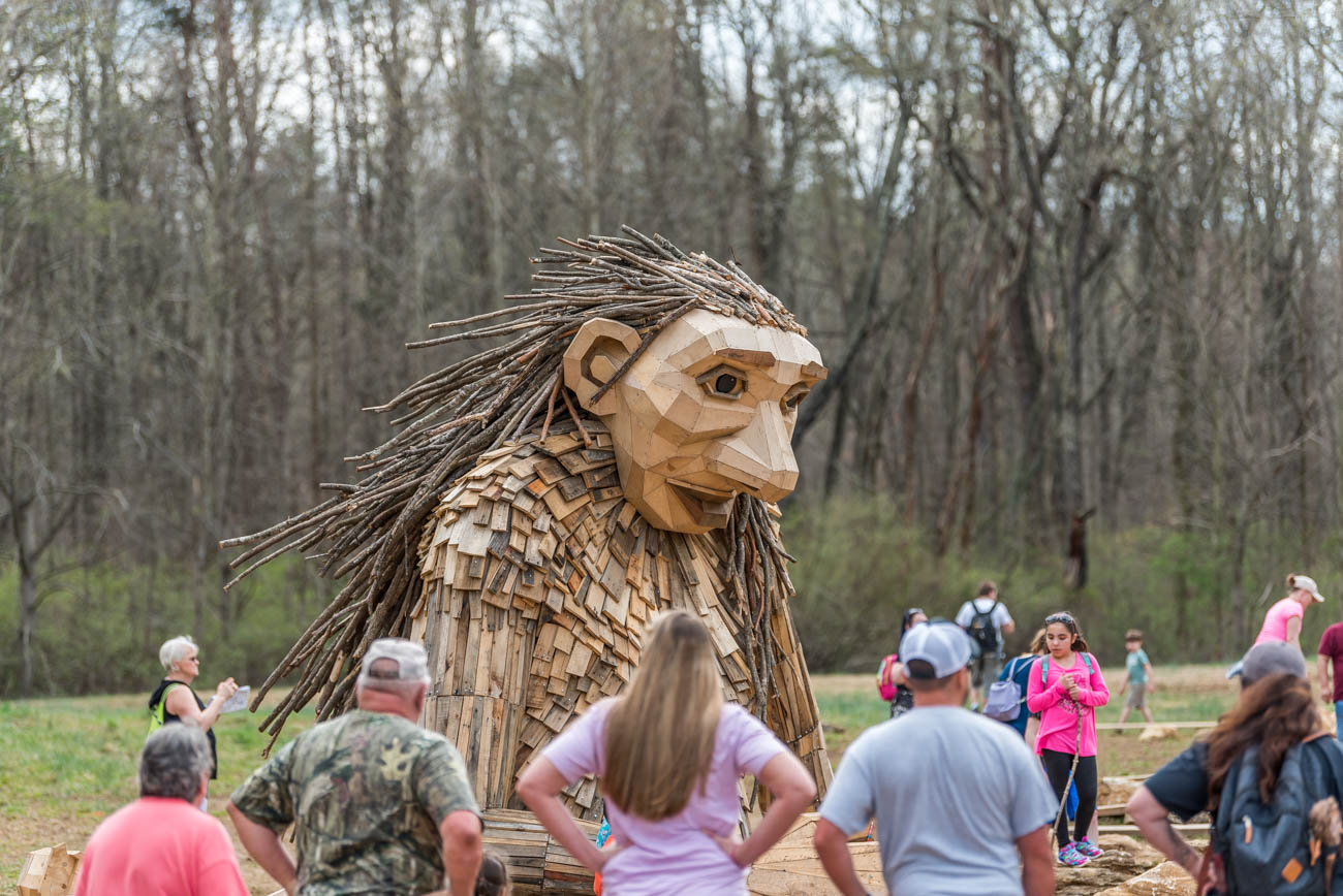 "Aside from gazing at giant trolls, Bernheim guests can discover other art displays throughout the park, enjoy over 40 miles of scenic hiking and biking trails, try out the edible garden, visit a Visitor Center with Isaac's Café inside, attend seasonal events, and participate in educational and research projects on the grounds and in the Education Center. The site is considered a ""living laboratory"" when it comes to learning about the best practices for environmental protection and conservation. / Image: Mike Menke // Published: 4.23.19"
