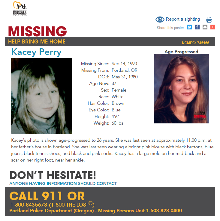 President Ronald Reagan proclaimed May 25 as National Missing Children's Day back in 1983. Here is a look at the missing children from Oregon listed in the databases of the National Center for Missing and Exploited Children. If you think you have seen one of these children, please call 1-800-THE-LOST (843-5678)