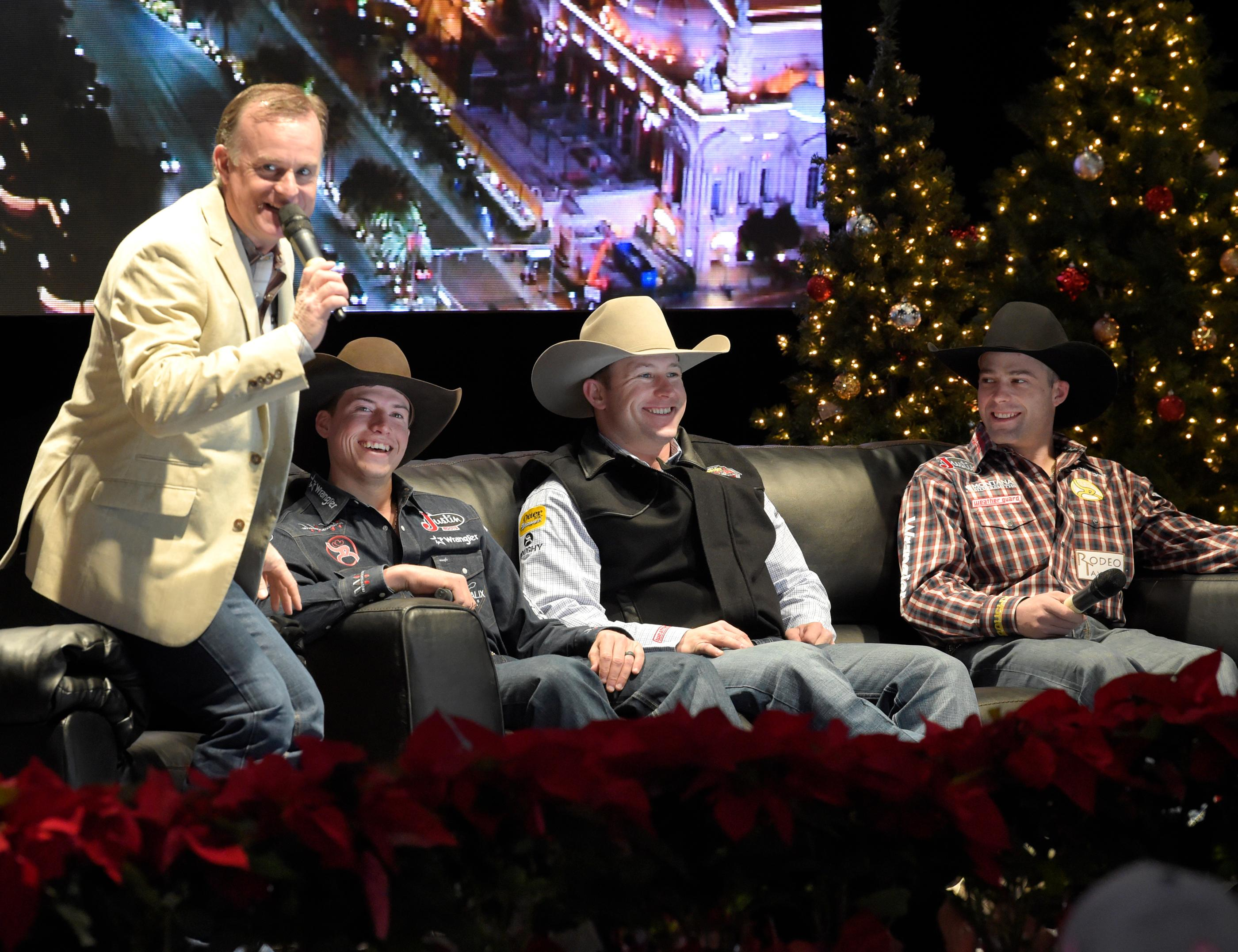 """Outside the Barrel"" with Flint Rasmussen, Entertainer and Rodeo Clown, as he interviews Bull Riders (l-r) Cody Webster, Nate Jestes and Dusty Tuckness during Cowboy Christmas on the Rodeo Live Stage at the Las Vegas Convention Center. Sunday December 10, 2017. [Glenn Pinkerton/Las Vegas News Bureau]"