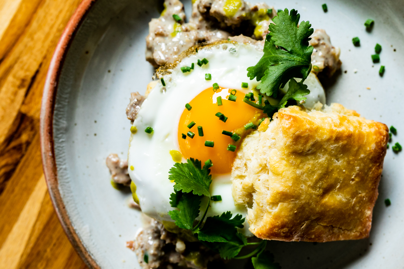 Baker's Table biscuits and gravy with Eckerlin's pork sausage, jalapeno hot sauce, and a fried egg / Image: Amy Elisabeth Spasoff // Published: 3.14.19