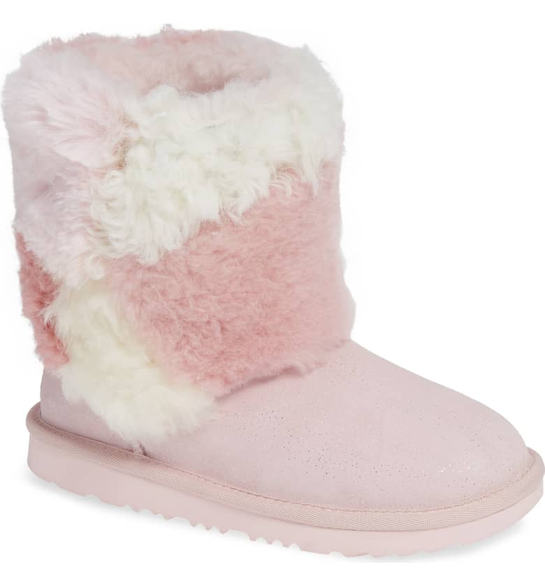 UGG Classic Short Genuine Shearling & Faux Fur Patchwork Boot, $129.95-$149.95.{ }Treat the kiddos in your world to something fun! Put a smile on their face with these Nordstrom picks! (Image courtesy of Nordstrom).