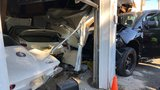 PHOTOS| Vehicle smashes into building in Harford Co, driver uninjured