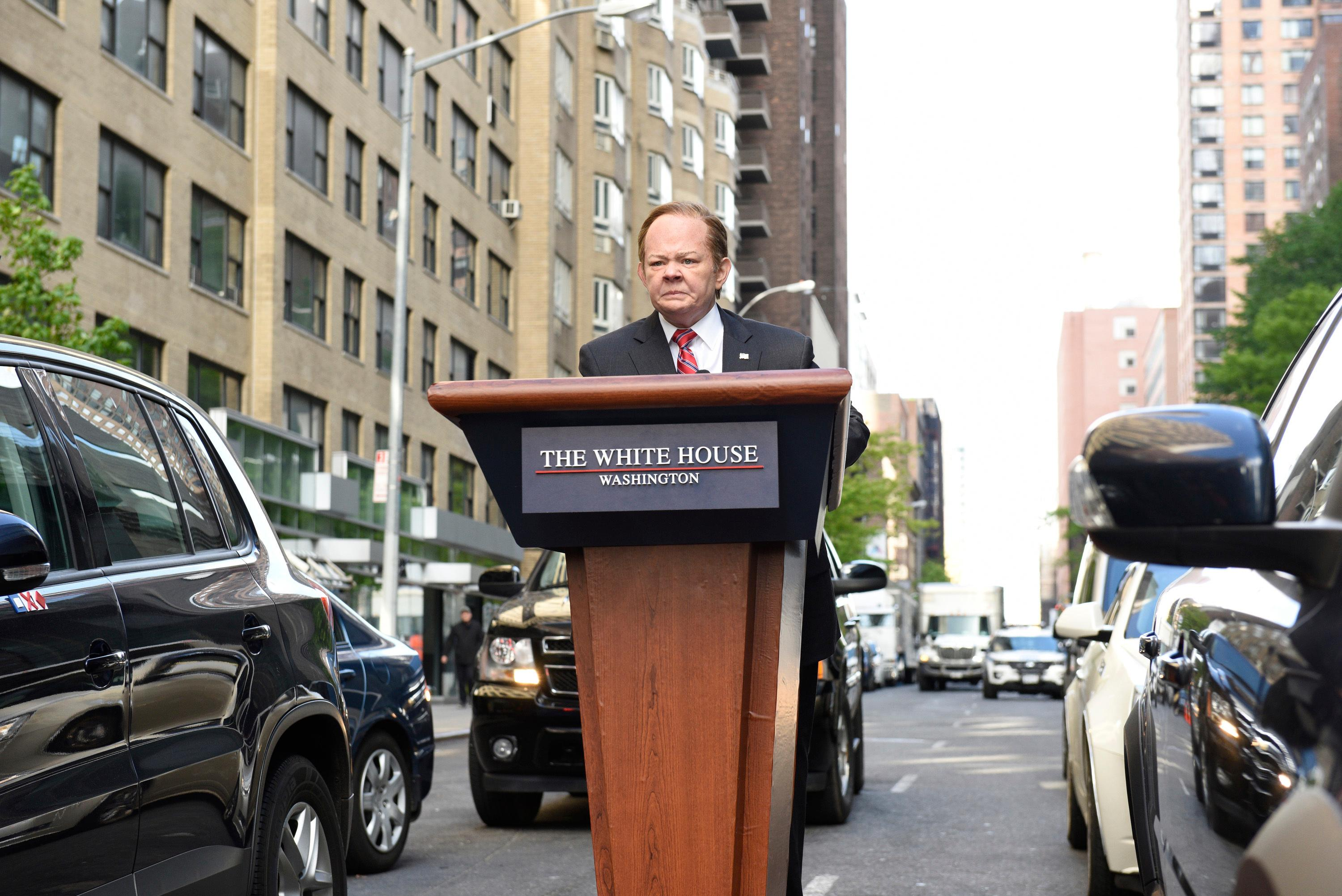 "In this photo provided by NBC, Melissa McCarthy as White House Press Secretary Sean Spicer, performs during ""Spicer Returns"" on the television show ""Saturday Night Live,"" Saturday, May 13, 2017, in New York. McCarthy once again brought comic spice plus Spicer to ""Saturday Night Live."" (Kylie Billings/NBC via AP)"