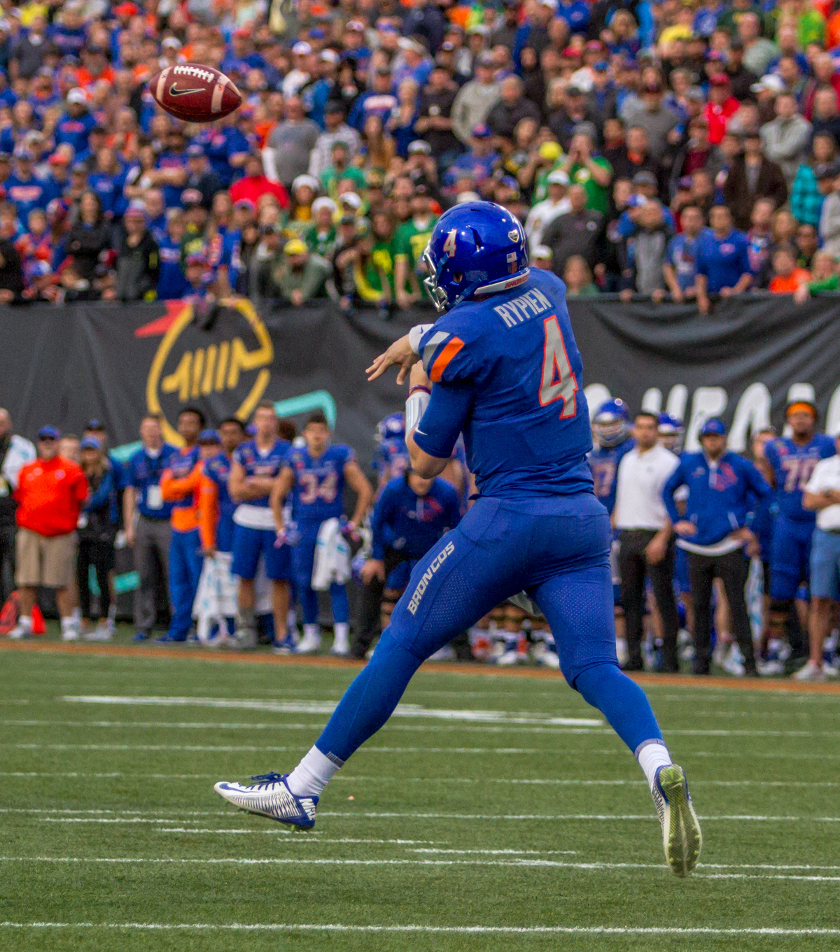 Boise State quarterback Brett Rypien (#4) throws a pass. The Boise State Broncos defeated the Oregon Ducks 38 to 28 in the 2017 Las Vegas Bowl at Sam Boyd Stadium in Las Vegas, Nevada on Saturday December 17, 2017. The Las Vegas Bowl served as the first test for Oregon's new Head Coach Mario Cristobal following the loss of former Head Coach Willie Taggart to Florida State University earlier this month. Photo by Ben Lonergan, Oregon News Lab