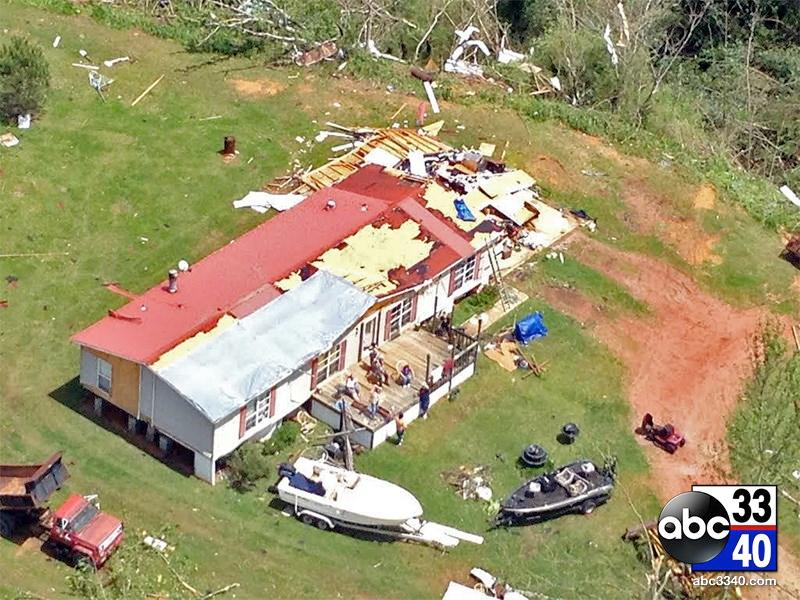 ABC 33/40 aerial view of the storm damage in Graysville, Ala., Tuesday, April 29, 2014.