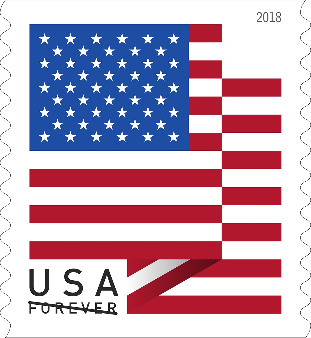U.S. Flag: For more than half a century, U.S. stamps have depicted the American flag in vivid red, white and blue. This eye-catching new issuance continues that tradition with a striking graphic design of a flag with two crisp folds. (USPS)