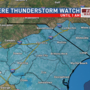 Severe Thunderstorm Watch in effect for entire area; Strong storms possible through Monday