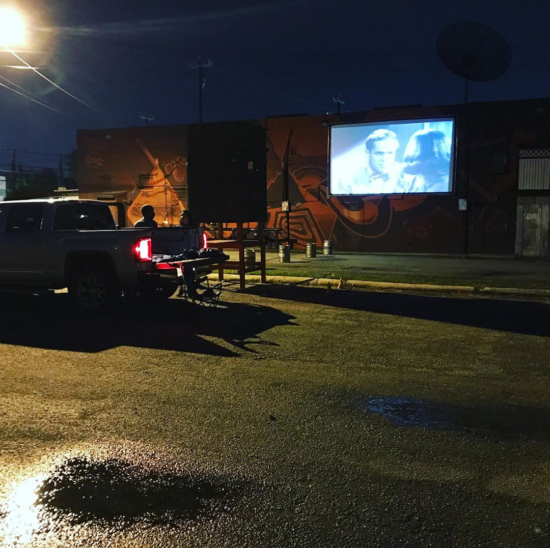 Bar owners are getting creative to keep people coming. The back of Joey's Bar is now a drive-in theatre. (SBG Photo)