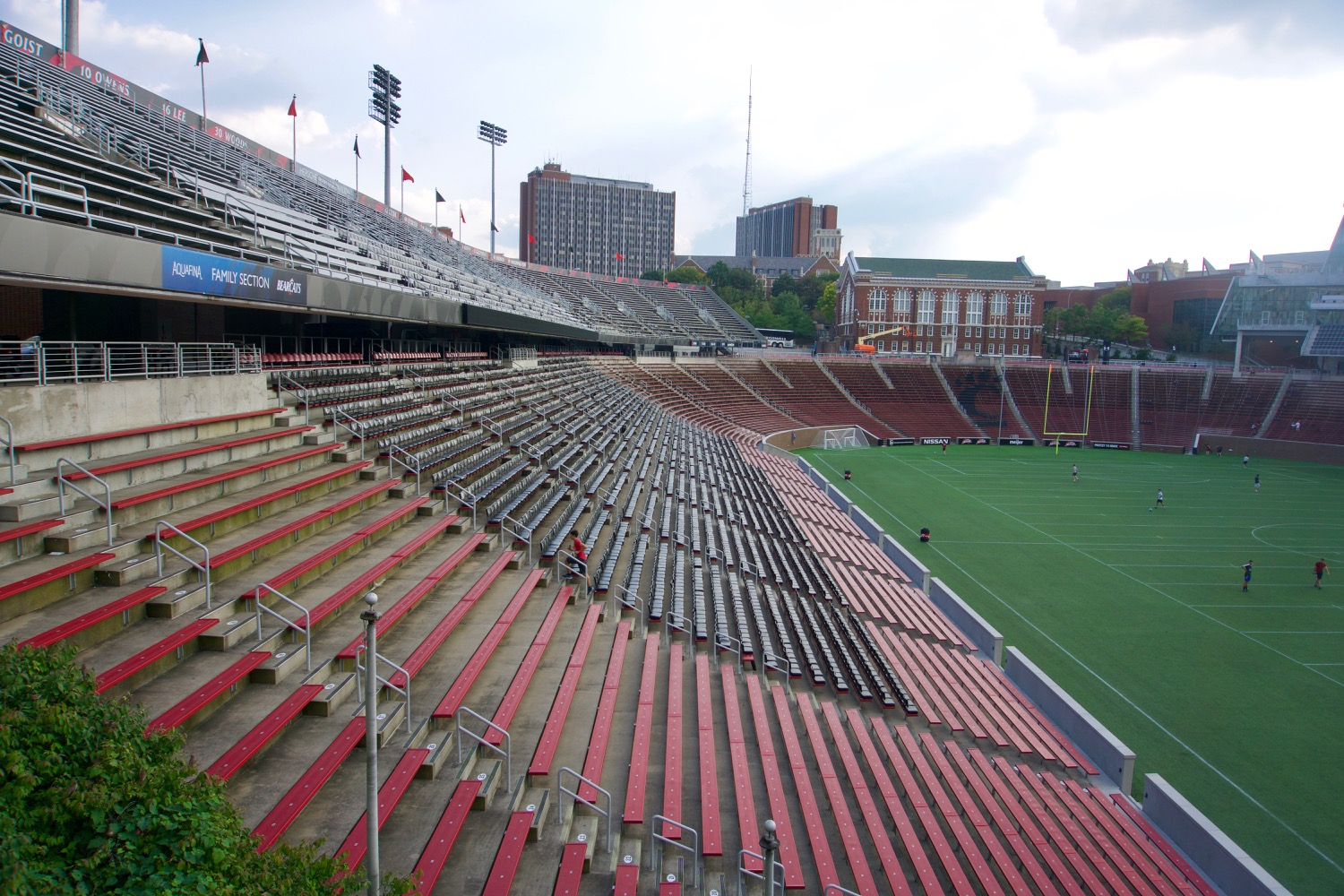 4. CONT'D: The stadium that would become Nippert was built around Carson Field as a necessity. The original pine benches that surrounded the field were apparently quite painful. So painful that spectators chose to stand around the brim rather than sitting on them, leaving one reporter to remark that during games there were more fans outside the stadium than in it. In 1916 funds were raised to replace the benches with concrete. Progress proceeded haltingly until Nippert Stadium was completed and christened in 1924, thanks to James Gamble. / Image: Brian Planalp // Published: 10.21.17