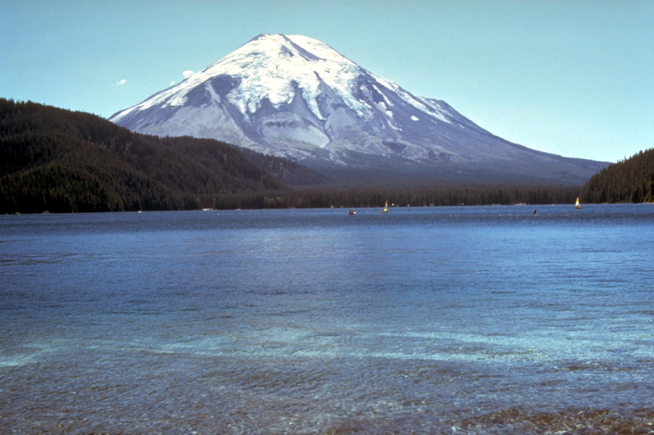 The view of the mountain from Spirit Lake in 1979. (USDA Forest Service/Mount St. Helens National Volcanic Monument)