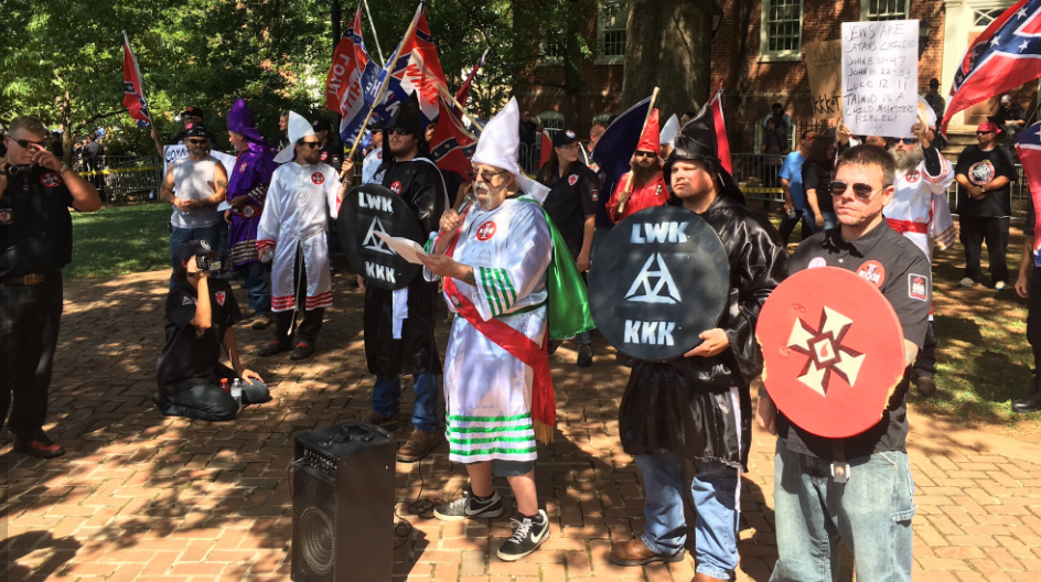 The KKK held a rally in Charlottesville, Va., Saturday, July 8, 2017 and over 1,000 people showed up to protest the KKK. (WJLA)