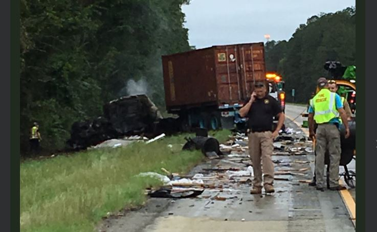 Two tractor trailers crashed on I-16 west in Twiggs County Monday morning, sending one person to the hospital and closing lanes on the highway/Victoria De Cardenas (WGXA)