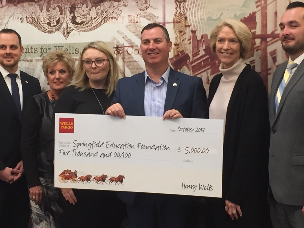 "<a href=""http://nbc16.com/search?find=Wells+Fargo"" target=""_blank"">Wells Fargo</a> in downtown Eugene donated $5,000 to the Springfield Education Foundation thanks to bank employee Micah Adams and the time he devotes every week to foundation. (SBG)"