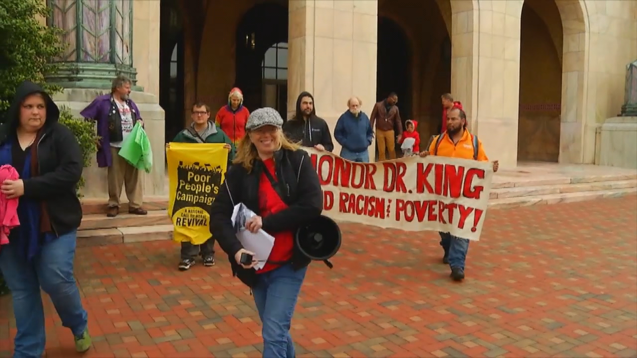 BeLoved Asheville organized a march in honor of Dr. Martin Luther King Jr.'s legacy. (Photo credit: WLOS staff)